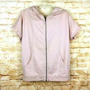 Sisley Women's Zipper Hooded Short Sleeve Sweater